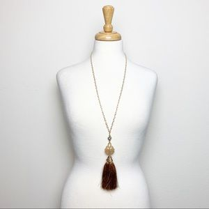 Gold Acrylic Brown Fringe Tassel Necklace